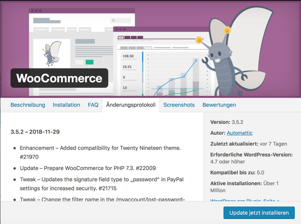 Update für WooCommerce Shopsystem 3.5.2