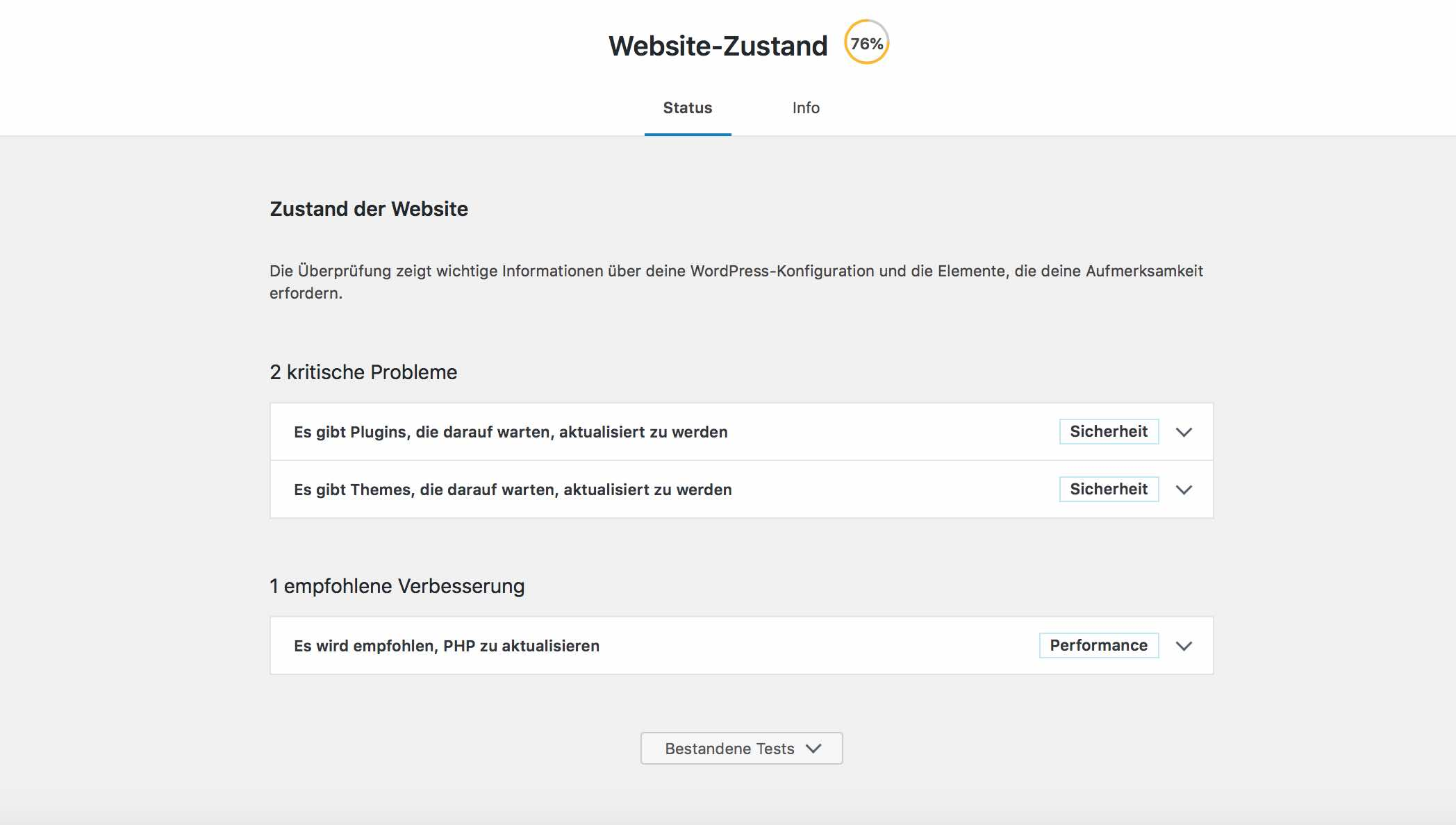 Website Status von WordPress Update 5.2