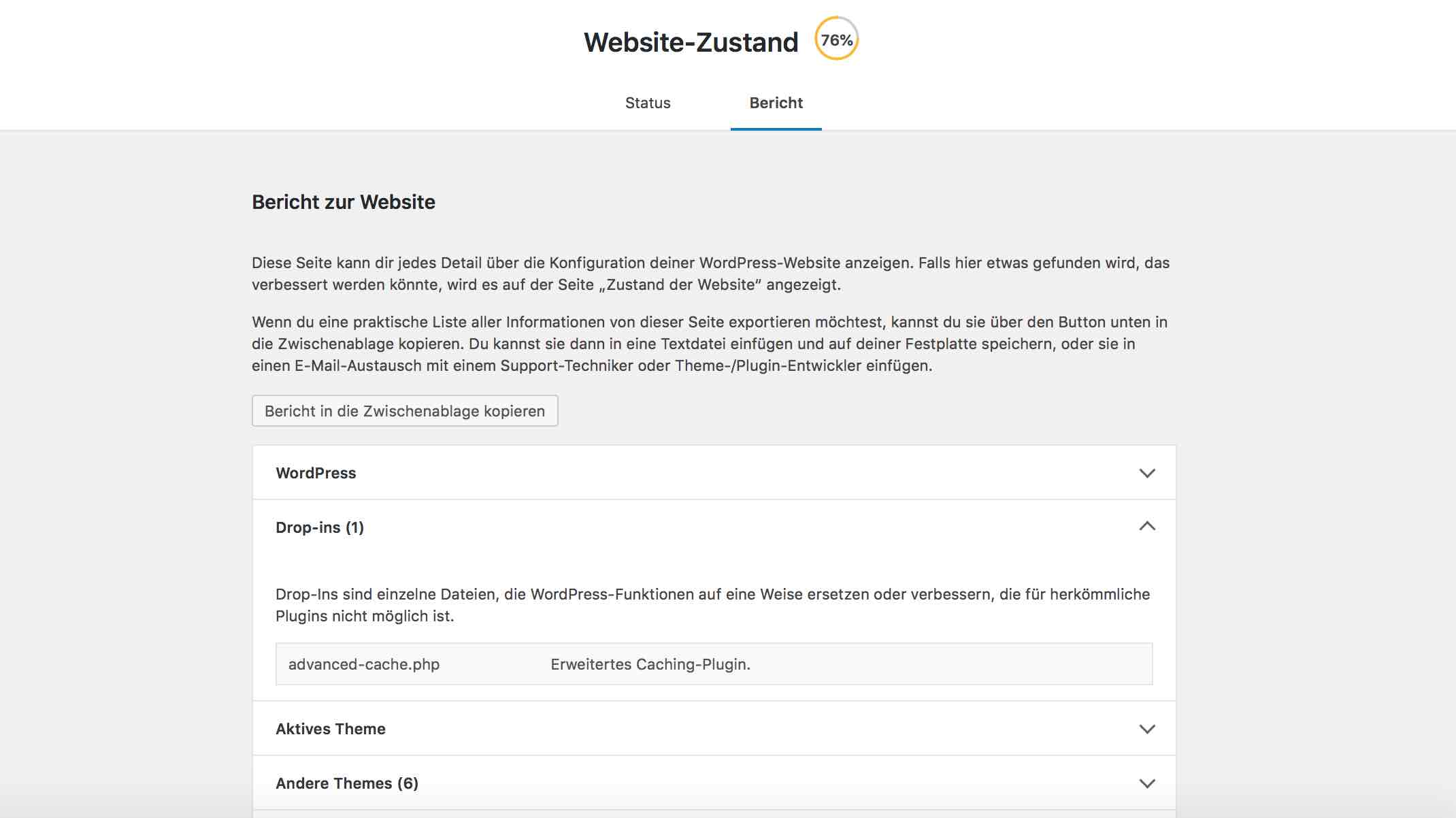 WordPress Statusbericht im Update 5.2